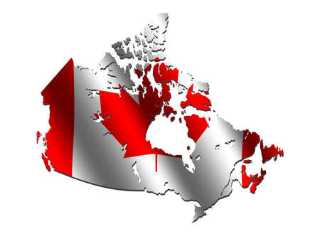rippled: Canada map with rippled flag on white illustration