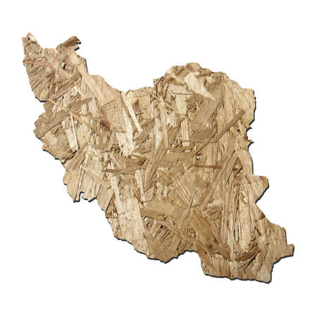 chipboard: Map of Iran with chipboard background on white