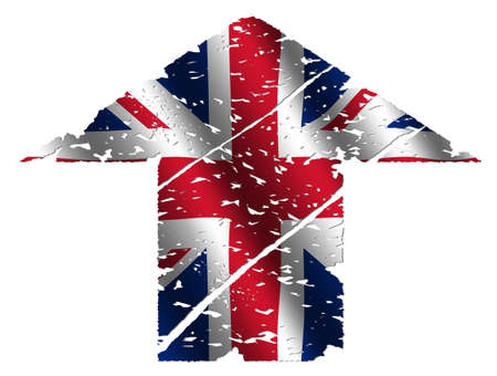 grunge upwards British flag arrow on white illustration illustration