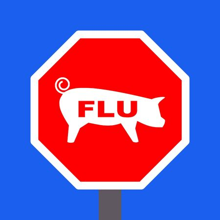 stop swine flu sign on blue illustration Stock Illustration - 4758259