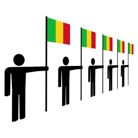 line of men holding mali flags illustration illustration