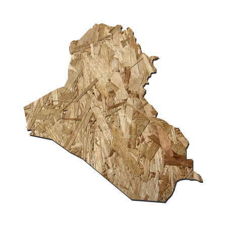 chipboard: Map of Iraq with chipboard background on white