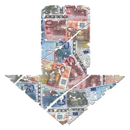 grunge downwards euros arrow on white illustration illustration