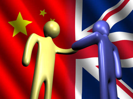 truce: abstract people shaking hands with Chinese and British flag illustration