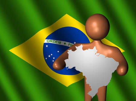 abstract person holding Brazil map sign illustration Stock Illustration - 4771467