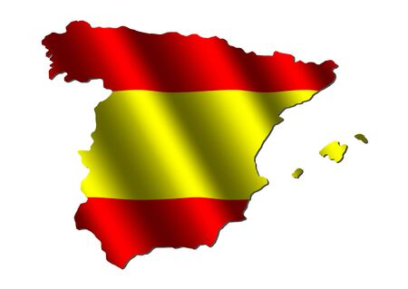 spanish flag: Spain map with rippled flag on white illustration Stock Photo
