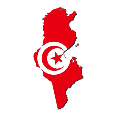 tunisia: map of Tunisia and Tunisian flag illustration