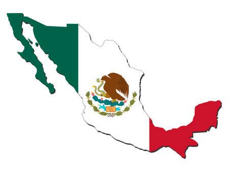 bandera mexicana: mapa de Mexico y la bandera de M�xico ilustraci�n