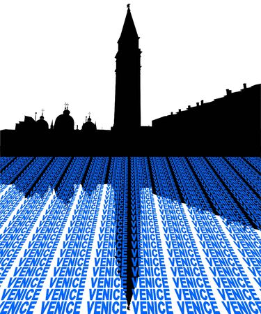 st marks square: St Marks Square Venice Italy with perspective text illustration
