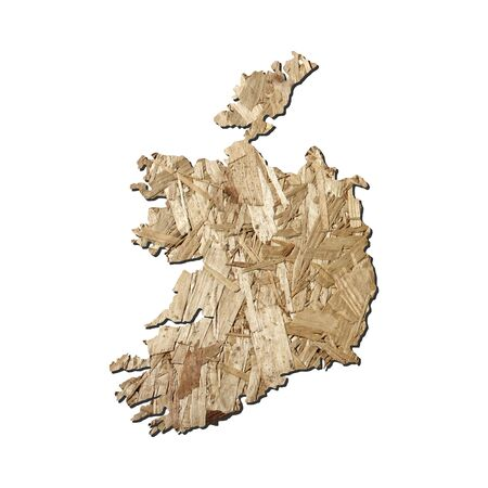 chipboard: Map of Ireland with chipboard background on white