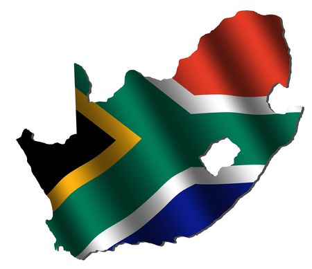 south africa flag: South Africa map with rippled flag on white illustration