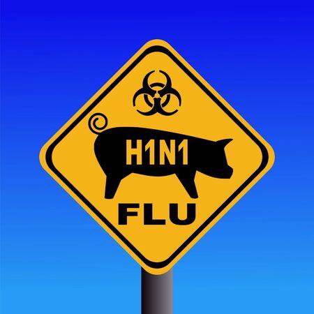 warning swine flu sign on blue illustration Stock Illustration - 4771471