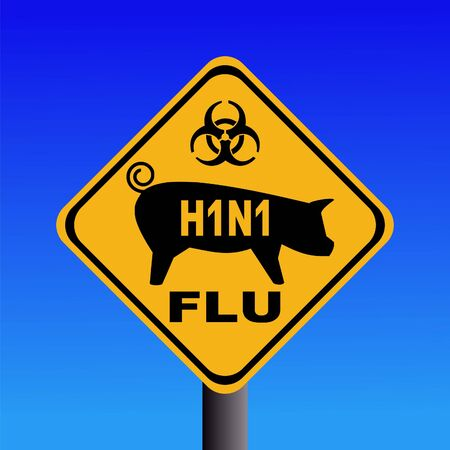 warning swine flu sign on blue illustration illustration