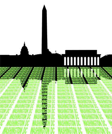 Washington DC Skyline with text illustration illustration