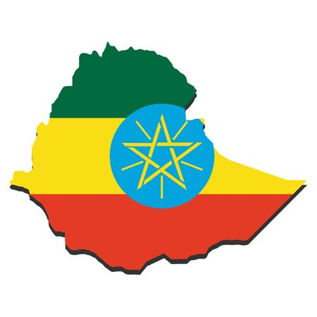 ethiopian: map of Ethiopia and Ethiopian flag illustration Stock Photo