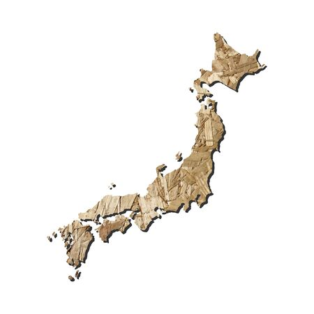 chipboard: Map of Japan with chipboard background on white