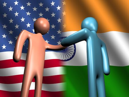 truce: abstract people shaking hands with American and Indian flags illustration