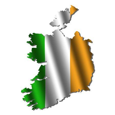 irish map: Ireland map with rippled flag on white illustration