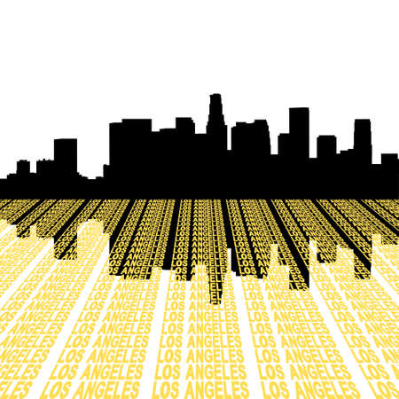 Los Angeles Skyline reflected with text illustration illustration