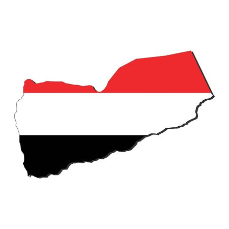 yemen: map of Yemen and their flag illustration