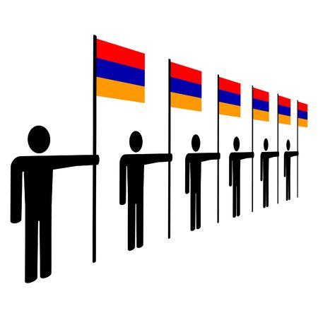armenian: line of men holding Armenian flags illustration