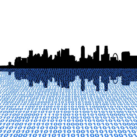 singapore: Singapore skyline with binary code foreground illustration