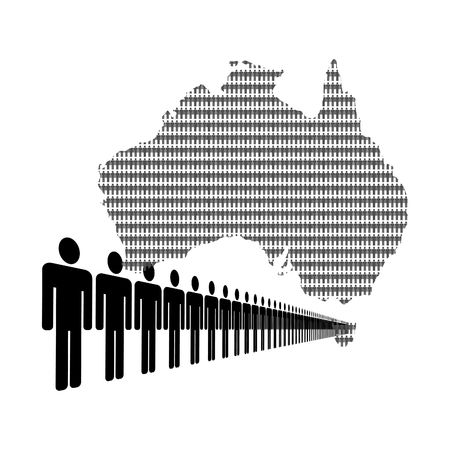 Map of Australia made of people with line of men photo