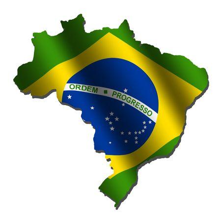 Brazil map with rippled flag on white illustration