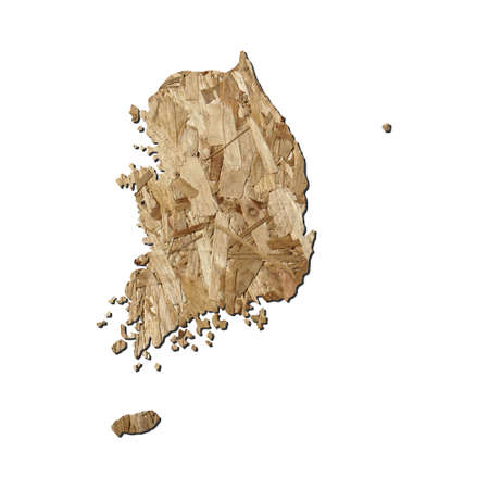 chipboard: Map of South Korea with chipboard background on white Stock Photo