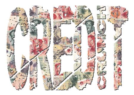 yuan: grunge Credit Crunch text with Yuan background