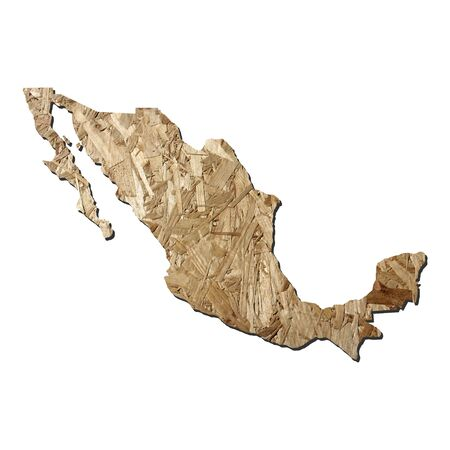 chipboard: Map of Mexico with chipboard background on white