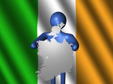 irish map: abstract person holding Ireland map sign with Irish flag illustration