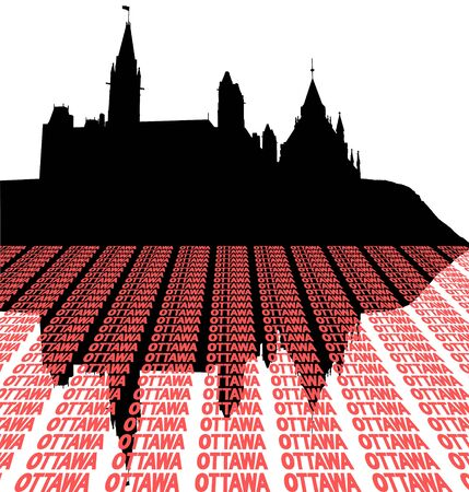 Canadian Parliament with text perspective illustration illustration