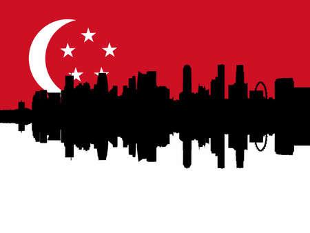 singaporean flag: Singapore Skyline reflected against Singaporean flag illustration