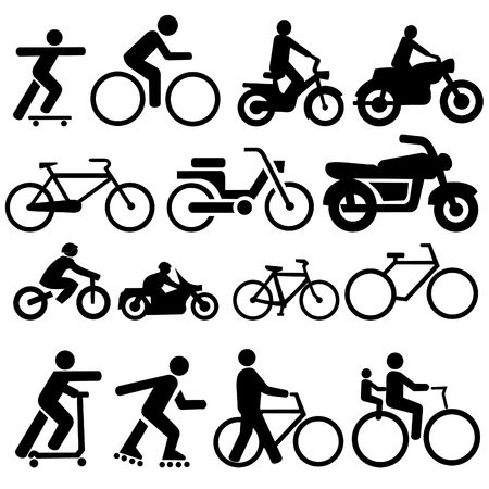 moped: assorted bicycle moped motorcycle and skate board silhouettes