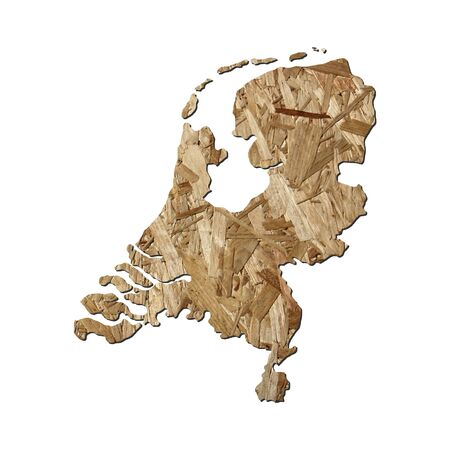 chipboard: Map of Netherlands with chipboard background on white