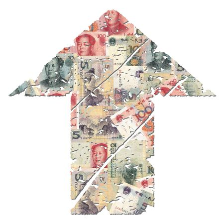grunge upwards Chinese Yuan arrow on white illustration illustration