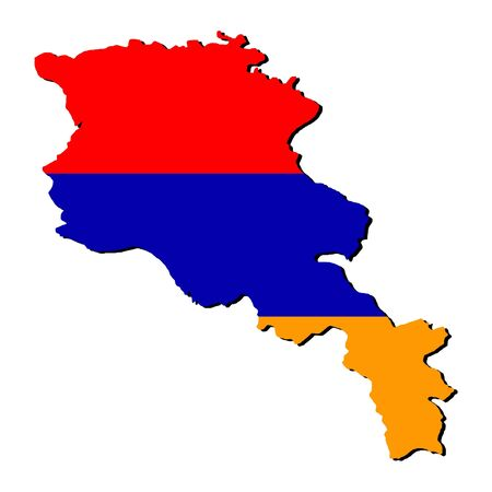 armenian: map of Armenia and Armenian flag illustration Stock Photo