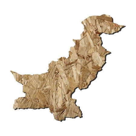 chipboard: Map of Pakistan with chipboard background on white Stock Photo