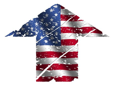 grunge upwards American flag arrow on white illustration illustration