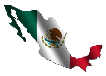 Mexico map with rippled flag on white illustration Stock Photo
