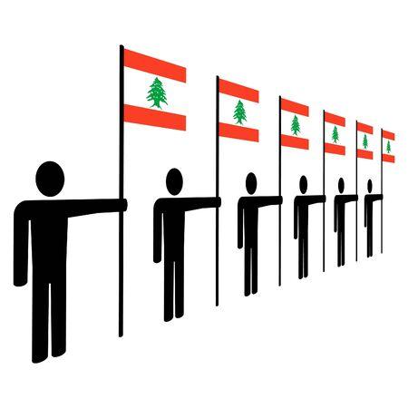 line of men holding Lebanese flags illustration illustration