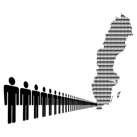 Map of Sweden made of people with line of men photo