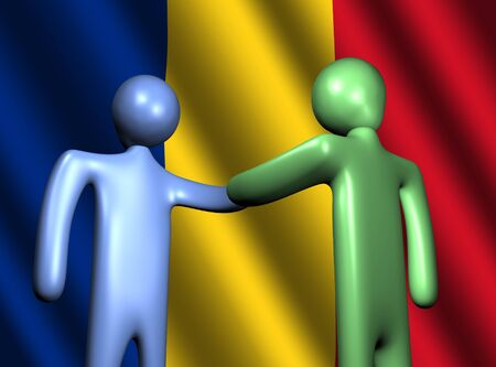 romanian: abstract people shaking hands with Romanian flag illustration