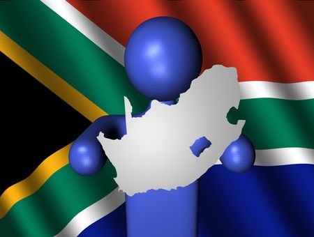 man with South Africa map on flag Stock Photo - 4900627