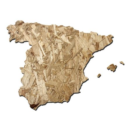 chipboard: Map of Spain with chipboard background on white Stock Photo
