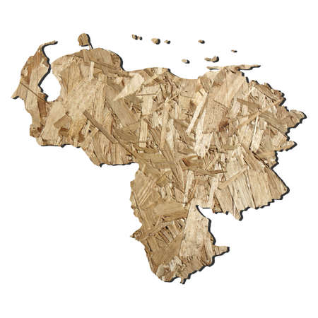chipboard: Map of Venezuela with chipboard background on white