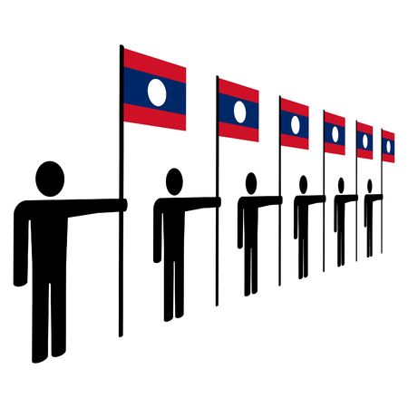 ine: ine of men holding Laotian flags illustration Stock Photo