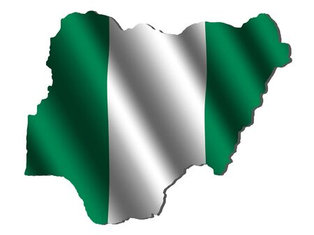 Nigeria map with rippled flag on white illustration illustration
