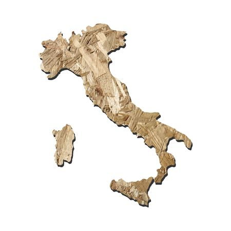 chipboard: Map of Italy with chipboard background on white